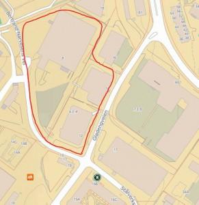 kart av krysset gladengveien stålverksveien