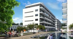 Illustrasjon av prosjektet Stålverkskroken på Ensjø.Består av en blokk med til sammen 40 selveide leiligheter.