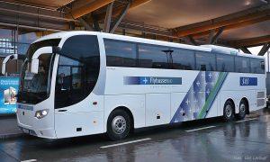 Flybuss Scania fra siden