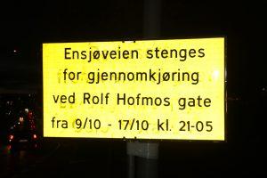 Ensjøveien stengt om natta 001